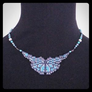 Hand Beaded Butterfly Necklace